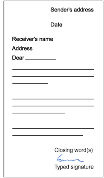Block format modified business letter layout.